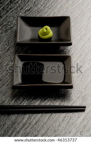 sushi sauce and chopstick - stock photo