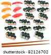Sushi set isolated on white background - stock photo