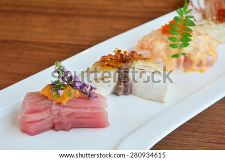Sushi Set japanese food style - soft focus point - stock photo