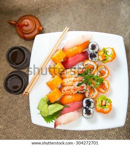Sushi set of Japnese food with shopstick - stock photo