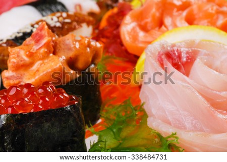 sushi, set of sushi, various sushi, set of sushi on a plate in a single, macro sushi, healthy food, fish, fresh fish, sushi from Japan, sushi menu - stock photo