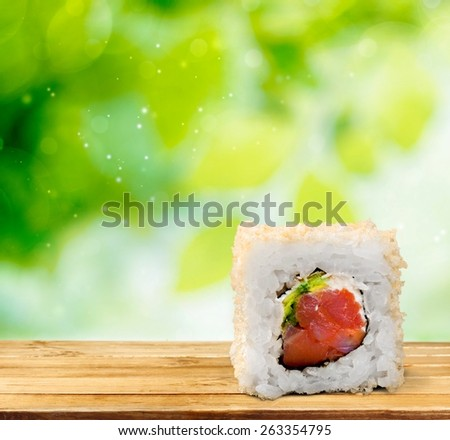 Sushi. Sushi pieces collection, isolated on white background - stock photo