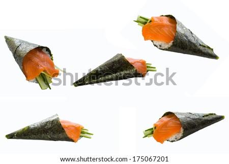 Sushi temaki isolated on white background - stock photo