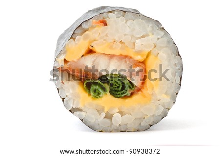 sushi the top view close up on a white background - stock photo