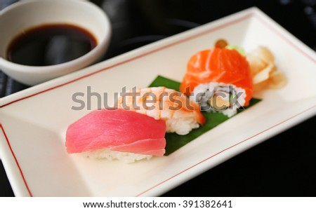sushi tuna, sushi shrimp, sushi salmon, Japanese food, selected focus at sushi tuna