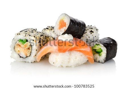 Sushi with a cucumber isolated
