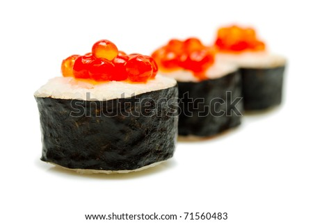 sushi with caviar is isolated on a white background - stock photo