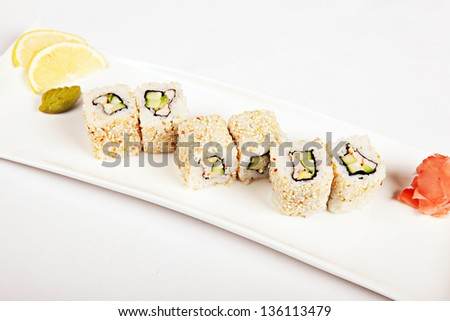 sushi with crab sticks cucumber - stock photo