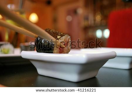 sushi with fish - stock photo