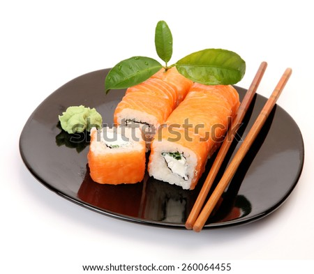sushi with fish and rice - stock photo