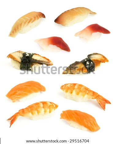 sushi with rosefish, prawn, conger eel isolated on white - stock photo