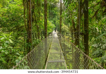 Suspended bridge at natural rainforest park, Costa Rica - stock photo