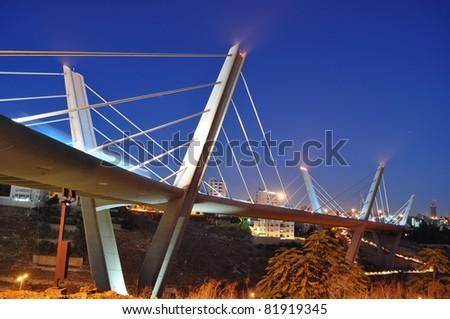 Suspended bridge in Jordan - stock photo