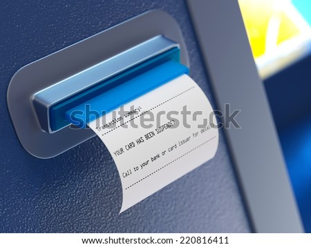 Suspended card atm machine receipt - stock photo