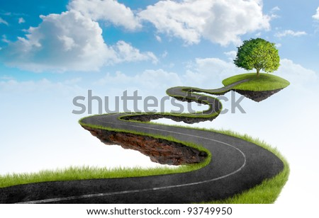 Suspended in the sky road that leads to the tree - stock photo