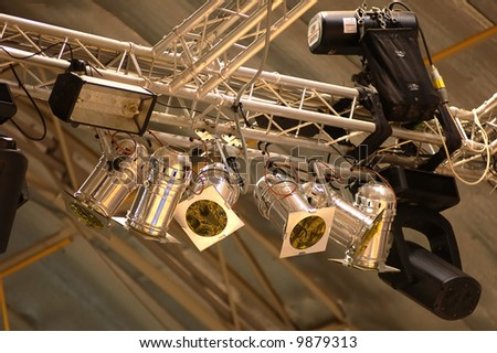 suspended lighting equipment - stock photo