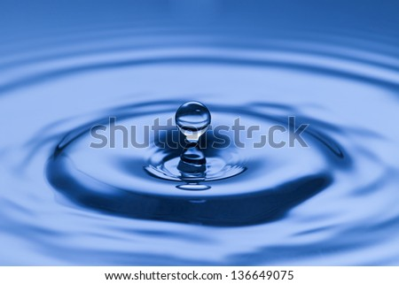 Suspended water droplet above the surface of the liquid with radiating ripples forming a natural pattern