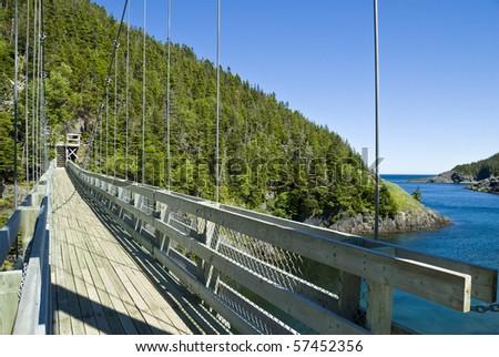 Suspension Bridge at La Manche Provincial Park - stock photo