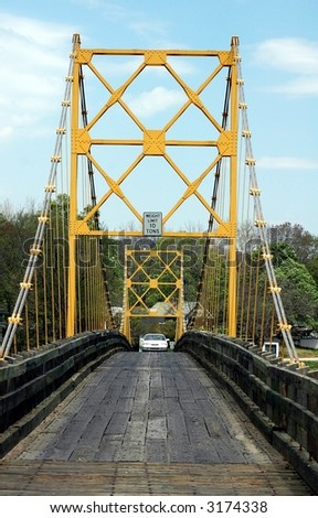 suspension bridge.Called Golden Gate if the East.Northwest Arkansas - stock photo