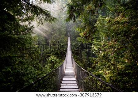 Suspension Bridge in North Vancouver, Canada - stock photo