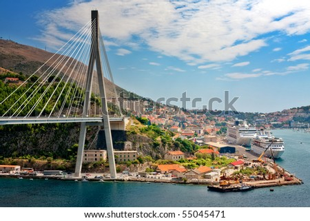 Suspension bridge in the coastal town of Dubrovnik in Croatia - stock photo