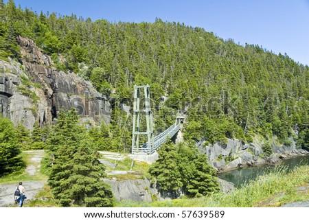 Suspension Bridge of La Manche, Newfoundland - stock photo
