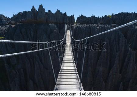 Suspension bridge, Tsingy de Bemaraha. Mahajanga. Madagascar - stock photo