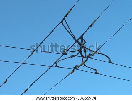 Suspension of electric cables under tension, for electrical transport - stock photo
