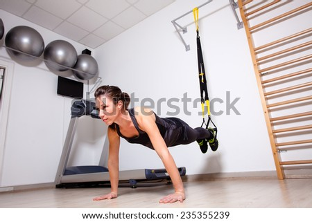 suspension strap workout - stock photo
