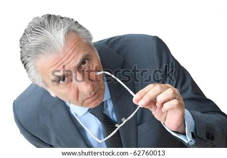 Suspicious boss leaning forward. - stock photo