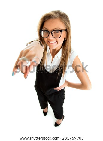 Suspicious upset angry and funny secretary taking off her glasses, standing isolated on white background in high angle. - stock photo
