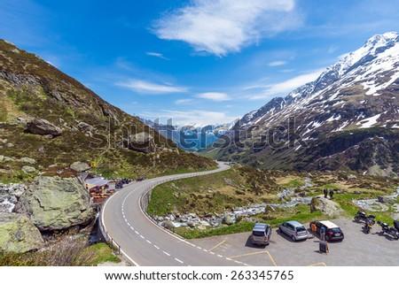 SUSSTEN PASS, SWITZERLAND - JUNE 6, 2014: The Susten Pass connects Innertkirchen in the canton of Bern with Wassen in the canton of Uri, Switzerland. - stock photo