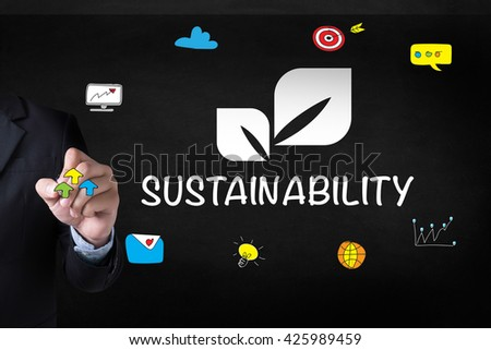 SUSTAINABILITY Businessman drawing Landing Page on blackground - stock photo