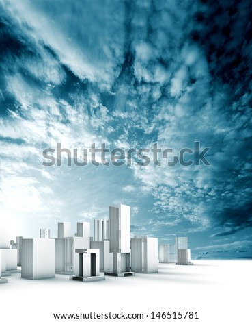 Sustainable city blueprint concept.Construction and engineering - stock photo