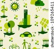Sustainable city development with environmental icons conservation endlessly pattern. - stock photo