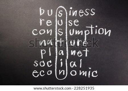 Sustainable Development concept in crossword, handwritten with chalk - stock photo