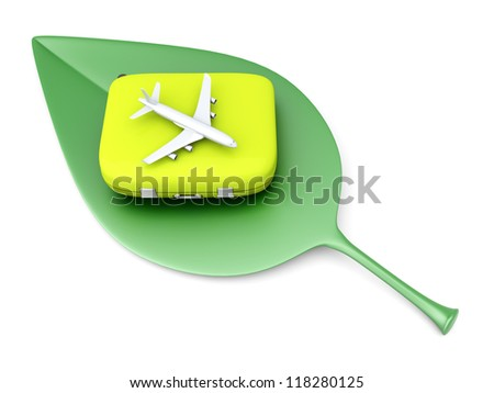 Sustainable, ecological air travelling. 3D rendered Illustration. - stock photo