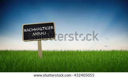Sustainable farming text in white chalk on blackboard sign in flowing green grass under clear blue sky background. 3d Rendering. - stock photo