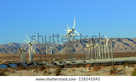 Sustainable & Renewable Energy from Solar and Wind, Palm Springs, CA - stock photo