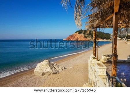 Sutomore beach in Montenegro at sunrise - stock photo