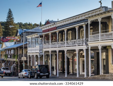 SUTTER CREEK, CA, USA - OCTOBER 14: Old building in the historical center on October 14, 2015 in Sutter Creek