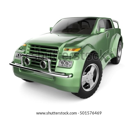 SUV green brandless concept car - 3D rendering