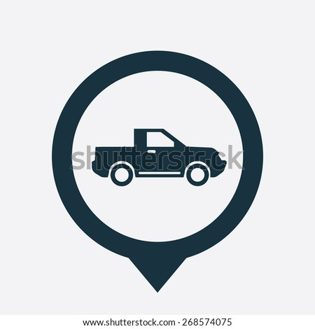 suv icon map pin on white background  - stock photo