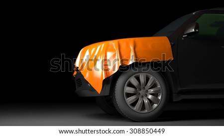 SUV with wrapped hood - stock photo