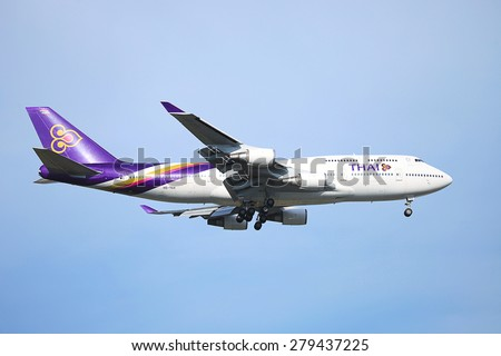 SUVARNABHUMI / THAILAND - MAY 17 2015: HS-TGX Boeing of Thaiairway. Landing to Chiangmai airport from Bangkok Suvarnabhumi. Thailand.  - stock photo