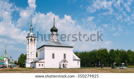 SUZDAL, RUSSIA - May 22, 2015: Panorama of Church of the Resurrection in Market Place or The Resurrection Church - old church on main square next to the Suzdal shopping arcade, built in 1720. Russia