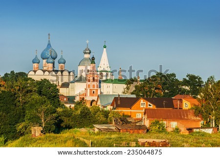 Suzdal. Russia. Nativity Cathedral (XII-XVI centuries). - stock photo