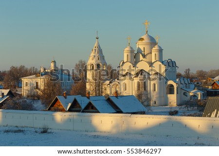 Suzdal, Russia. Pokrovsky cathedral with bell tower at winter.