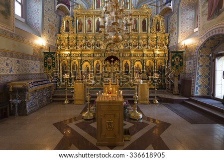 SUZDAL, RUSSIA - 06.11.2015. The iconostasis in the Church of the Assumption. Golden ring