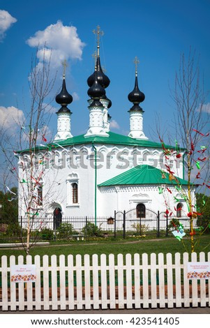 Suzdal, Russia, Vladimir region, circa May 2016. Log-Jerusalem church, the Church of the Entry into Jerusalem. - stock photo